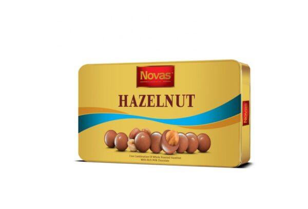 Novas-Hazelnut Milk 180g Chocolate Hazelnut Hộp thiếc 180 g